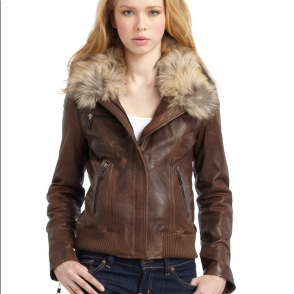 Andrew Marc Jackets & Blazers - Andrew Marc Lamb Skin Leather Bomber Brown Jacket